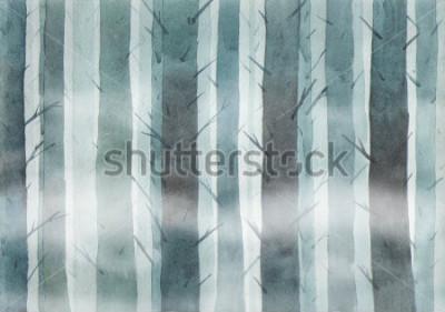 Bild Watercolor forest. Foggy wood.