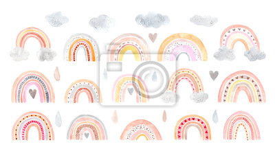 Bild Watercolor hand painted cute rainbow. Illustration isolated on white background.