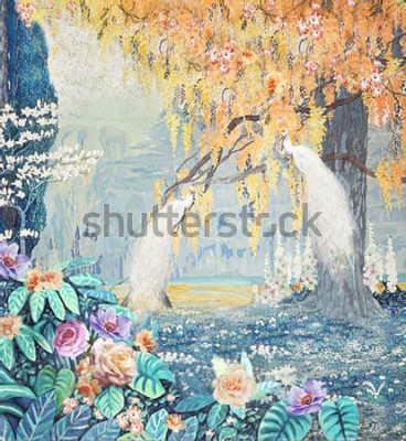 Bild Watercolor hand-painted landscape rose peacock yellow tree