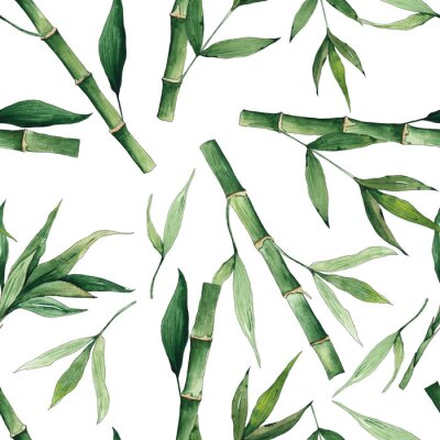 Bild Watercolor handpainted seamless pattern with green tropical bamboo and leaves