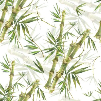 Bild Watercolor illustration of bamboo leaves , seamless pattern on white background