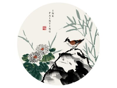 Bild Watercolor ink paint art vector texture illustration bird on a rock and chrysanthemum flower bamboo. Translation for the Chinese word : Blessing