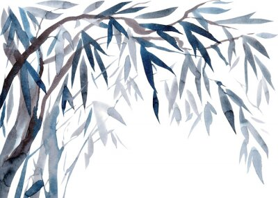 Bild Watercolor Leaves and tree branches,   Traditional Japanese ink painting sumi-e.