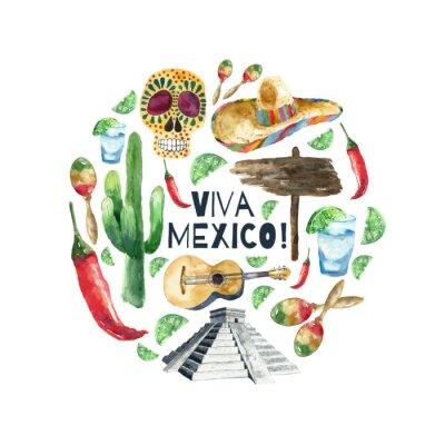 Bild Watercolor mexico icons.