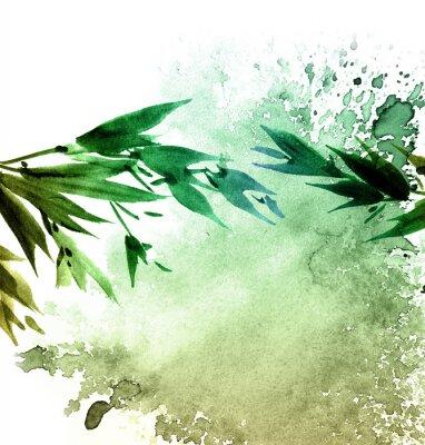 Bild Watercolor painted tree foliage