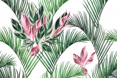 Bild Watercolor painting colorful coconut,green,pink leaves seamless pattern background.Watercolor hand drawn illustration tropical exotic leaf prints for wallpaper,textile Hawaii aloha summer style..