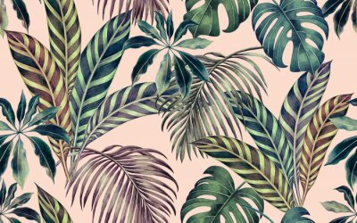 Bild Watercolor painting colorful tropical leaf,green leave seamless pattern background.Watercolor hand drawn illustration tropical exotic leaf prints for wallpaper,textile Hawaii aloha summer style..
