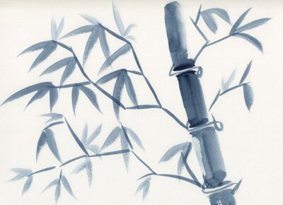 Bild Watercolor painting of asian bamboo stem with leaves in sumie-e ink style. Hand drawn oriental style serene landscape. Concept for decoration, relaxation, restore, mindful meditation background.