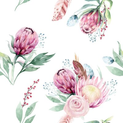 Bild Watercolor protea seamless pattern. tropical leaves background. Textile texture. Hand drawn illustration