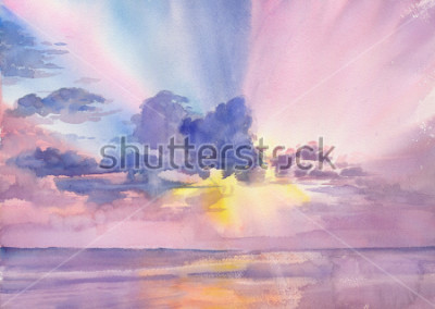 Bild Watercolor purple clouds in the seaside sky