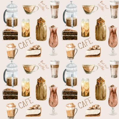 Bild Watercolor seamless pattern with illustrations of coffee cup, coffee beans, coffee grinder, cappuccino, latte and desserts
