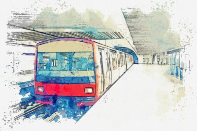 Bild Watercolor sketch or illustration of the metro in Lisbon in Portugal. Traditional subway train at the subway station