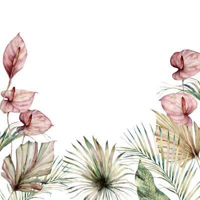 Bild Watercolor tropic border with anthurium and palm leaves. Hand painted frame with flowers and plant isolated on white background. Floral holiday illustration for design, print, background.