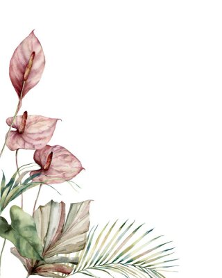 Bild Watercolor tropic card with anthurium and palm leaves. Hand painted frame with flowers and plant isolated on white background. Floral illustration for design, print, background. Invitation template.