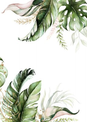 Bild Watercolor tropical floral border - green, blush & gold leaves. For wedding stationary, greetings, wallpapers, fashion, background.