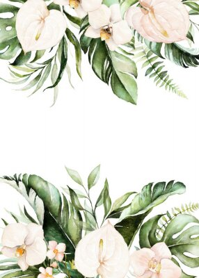 Bild Watercolor tropical floral border - green, blush leaves & flowers . For wedding stationary, greetings, wallpapers, fashion, background.