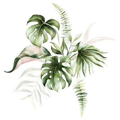 Bild Watercolor tropical floral bouquet - green & blush leaves. For wedding stationary, greetings, wallpapers, fashion, background.