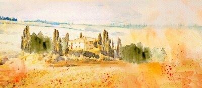 Bild Watercolor Tuscany. Countryside landscape