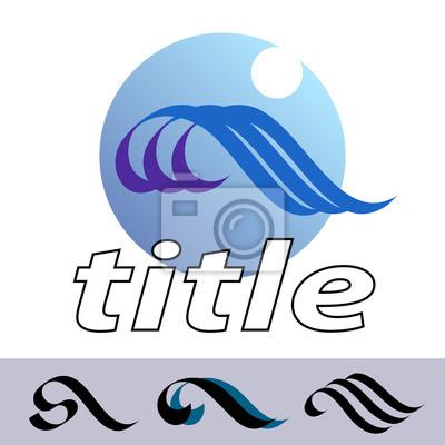 Waves. Ein Entwurf für Logo, T-Shirt, Tasche, ad, Postkarte, Poster, Illustration und so weiter. Getrennt weißem Hintergrund. Vektor.