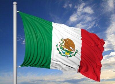 Bild Waving flag of Mexico on flagpole, on blue sky background.
