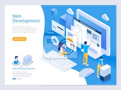 Bild Web design and development vector isometric illustrations.