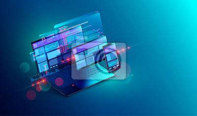 Bild Web development and coding. Cross platform development website. Adaptive layout internet page or web interface on screen laptop, tablet and phone. Isometric concept illustration.