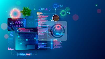 Bild Web development, coding and programming responsive layout internet site or app of devices. Creation digital Software mobile, desktop platforms. Computer code on laptop, tablet, phone. Concept banner.