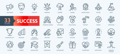 Bild Web Set of Success, Goals and Target Related Vector Thin Line Icons. Contains such Icons as Achievment, Handshake, Victory and more. Outline icons collection. Simple vector illustration.