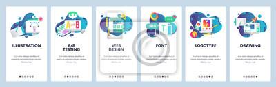 Bild Web site onboarding screens. Graphic design, web and logotype design, computer fonts. Menu vector banner template for website and mobile app development. Modern design linear art flat illustration.