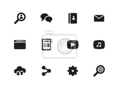 Web-Symbole auf weißem Hintergrund.