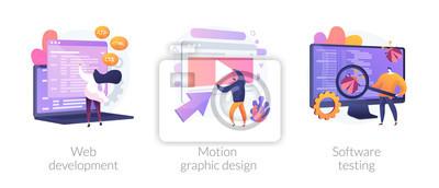 Bild Website programming and coding. Computer animation designer. Bug fixing. Web development, motion graphic design, software testing metaphors. Vector isolated concept metaphor illustrations