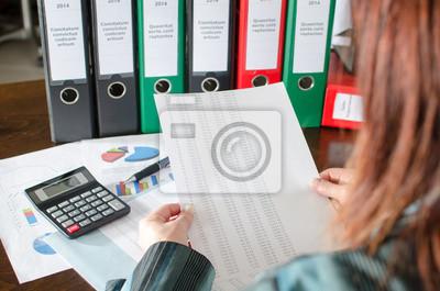 Bild Weibliche Buchprüfung Finanzdokumente