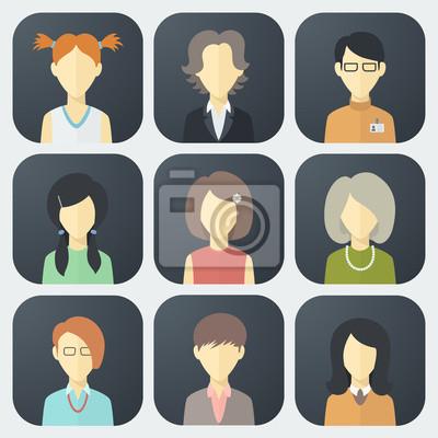 Weibliche Gesichter Icons Set