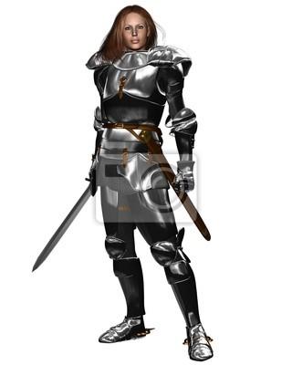 Weiblicher Ritter in glänzender Rüstung