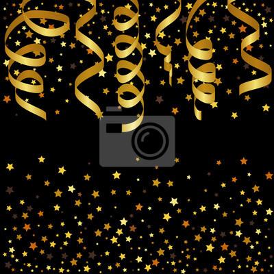 Bild Weihnachten Hintergrund mit Gold Streamer und Sterne Konfetti. Abbildung