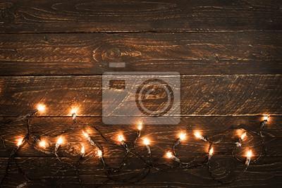 Bild Weihnachten leuchtet Glühbirne auf Holz Tisch. Frohe Weihnachten (Weihnachten) Hintergrund. topview, border design - rustikale und vintage stile