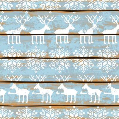Bild Weihnachten nahtlose Muster mit Hirschen und Schneeflocken
