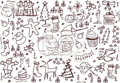 weihnachten symbole doodles leinwandbilder bilder zwerg claus mistel. Black Bedroom Furniture Sets. Home Design Ideas
