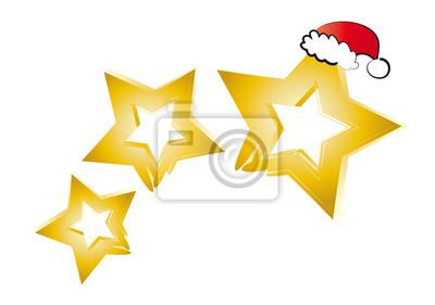 Stern Weihnachten.Bild Weihnachten Weihnachtszeit Goldene Sterne Und Nikolausmütze