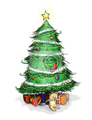weihnachtsbaum eine hand gezeichnet vektor illustration. Black Bedroom Furniture Sets. Home Design Ideas