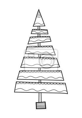 Weihnachtsbaum Schwarz Weiß.Bild Weihnachtsbaum Mit Dekorativen Mustern Schwarz Weiß Illustration