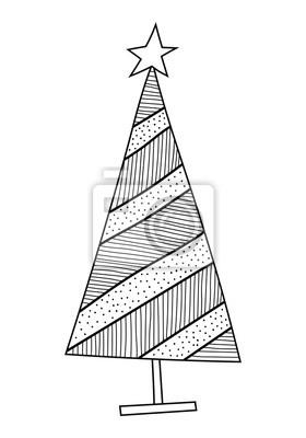 Weihnachtsbaum Mit Dekorativen Mustern Schwarz Weiß Illustration