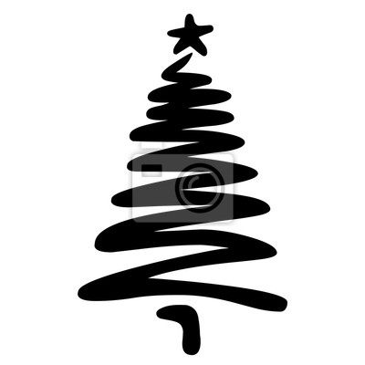 Weihnachtsbaum Schwarz Weiß.Bild Weihnachtsbaum Mit Ein Paar Schnellen Linien Locker Skizziert