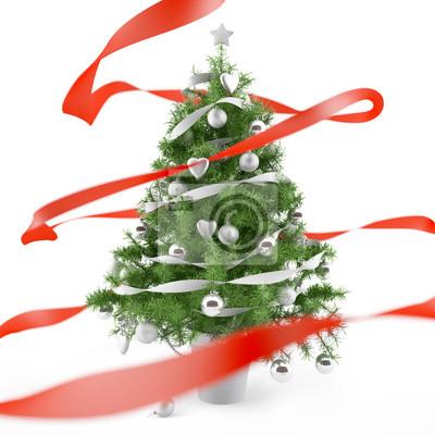 Weihnachtsbaum mit Silber Weihnachtskugeln und rote Schleife
