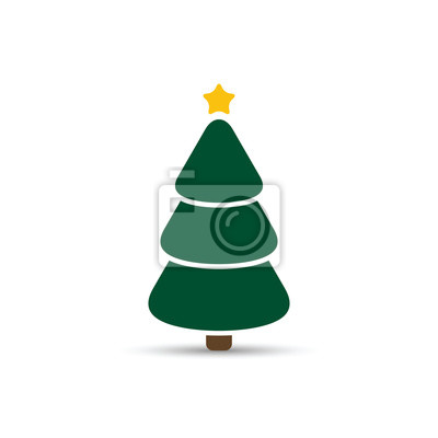 Weihnachtsbaum Symbol Einfaches Design Vektor Grüner Tannenbaum