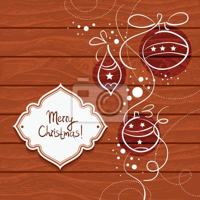 Weihnachtskarte mit hölzernen Hintergrund