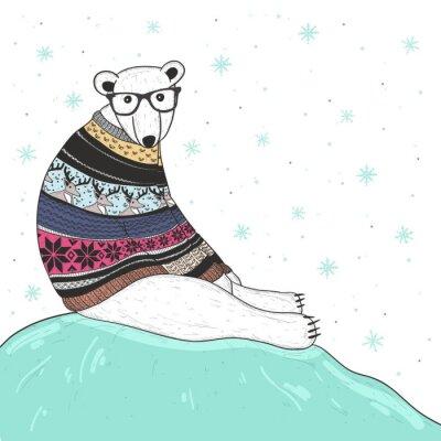 Bild Weihnachtskarte mit niedlichen hipster Eisbären. Bär mit Fair Isle