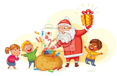 Weihnachten Kinder.Bild Weihnachtsmann Bringt Geschenke An Kinder Frohe Weihnachten