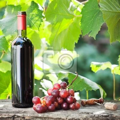 Weinflasche und Weintrauben