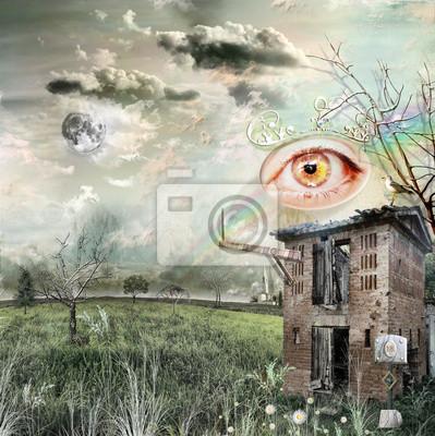 Weinlese-Feld mit gold-rosa Auge